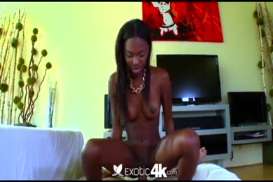 Sexy ebony babe with big ass sucks and fucks.