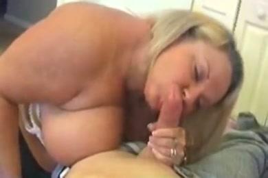 Lady with big tits sucking big cock pov.