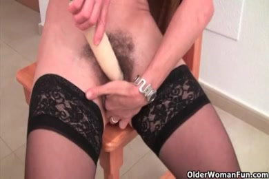 Hairy pussy with dildo and vibrator.