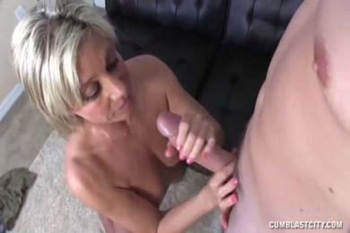 Huge cumshot, cummed on big cock, creampied and then swallowed