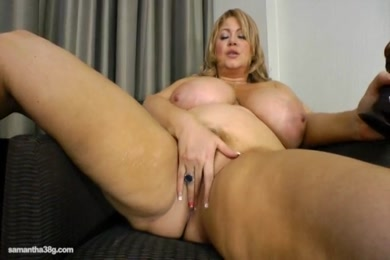 Hairy chubby girl gets her first time with huge dildo.