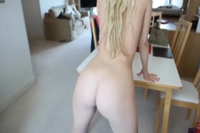 Sexy blonde beauty plays with herself on video chat.