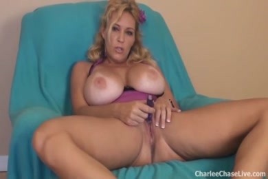 Big titty cougar charlee chase gets her wet pussy stuffed by dildo.