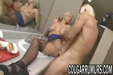 Hot blonde milf takes a shower and plays with pussy.