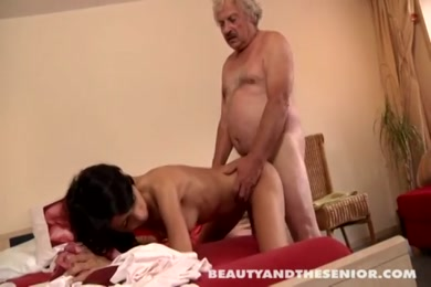 Tattooed beauty fucked by old dude with huge cock.