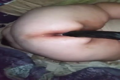 Ghetto girl with a beautiful ass riding on dildo.