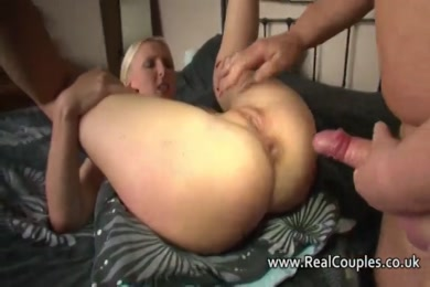 Hot blonde slut fucks her pussy and ass.