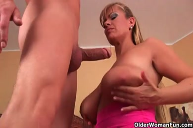 Naughty mature mom rides young cock and get cum covered.