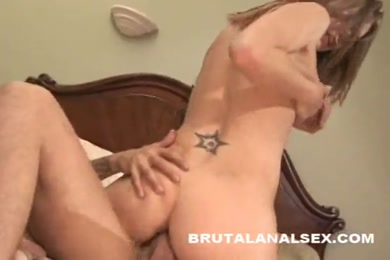 Cock hungry brunette gets her ass fucked and creampied.
