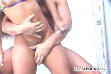 Hottie gets fucked by huge cock.