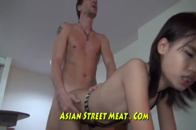 Cute asian babe strips and jerks off in public.