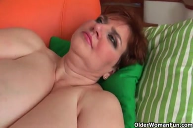 Bbw playing with dildo and getting cum on her boobs.