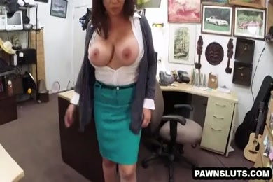 Busty babe gives great blowjob to huge cock.