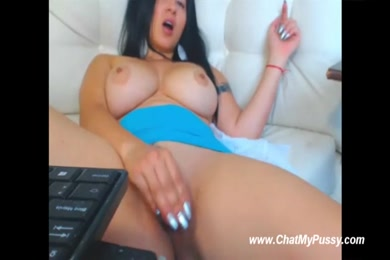 Hot girl with huge boobs on webcam.