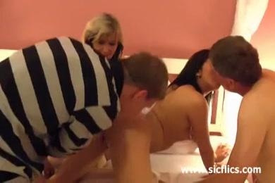 Teen slut fucked by 2 black cocks.