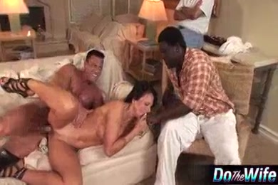 Cuckold wife sucks cock while husband is home.