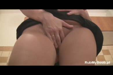 Naughty wife with big tits gets hard creampie on the kitchen counter.