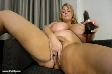 Cute chubby girl masturbates with dildo and vibrator.