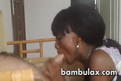 Amateur ebony amateur blowjob and doggy with cum in mouth.
