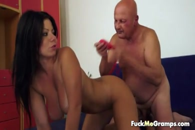 Fucked by old man in threesome.