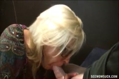 Hot blonde milf rides hard cock with passion.