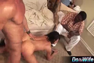 Husband makes wife cream all over his cock.