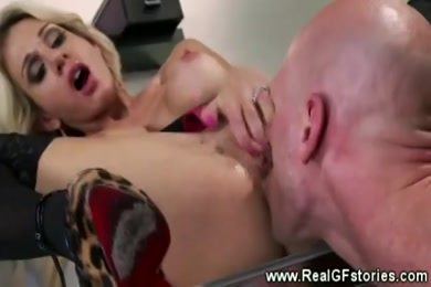 Wife rides her husband with her panties on.