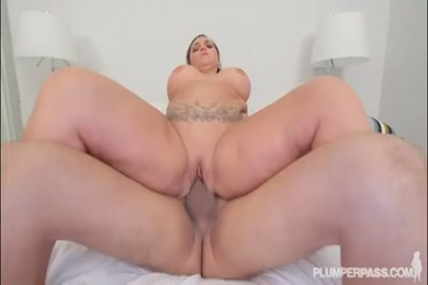 Hot chubby chick sucks cock and has fun with toys.