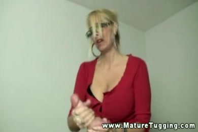 Hot milf in a thong and glasses gets caught.