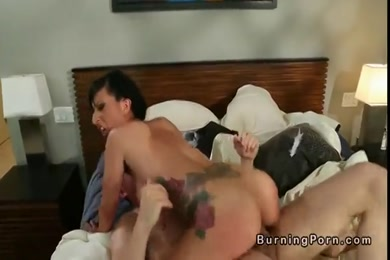 Brunette babe fucks her ass hard on the bed.